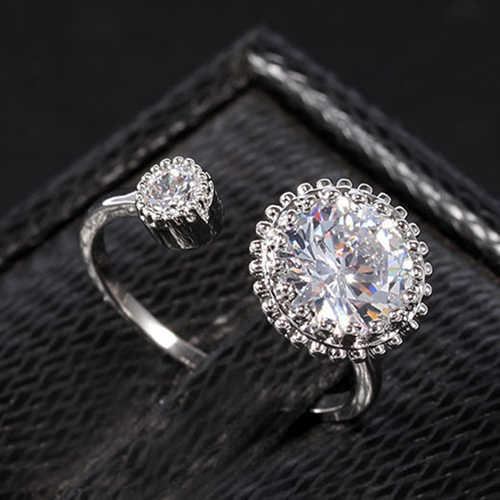 Bluelans модное поступление модные вечерние с двойной головкой с кубическим цирконием покрытое Незамкнутое регулируемое кольцо