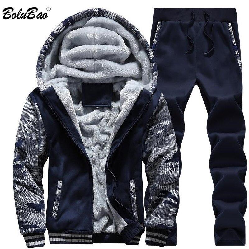 BOLUBAO hombres conjuntos chándal 2018 invierno con capucha + Pantalones  Casual cálido chándales hombre invierno grueso 8a744a66c6e
