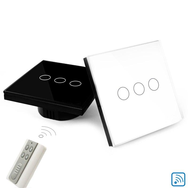 domótica luz de interruptor de pared del zócalo de LA UE 3 gang inteligente panel de cristal blanco cristal de control remoto táctil interruptor de la luz