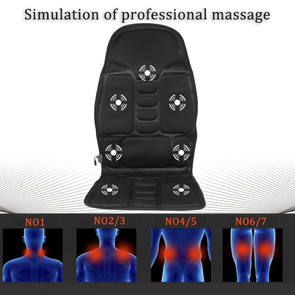 Professional Car Household Office Full Body Massage Cushion Lumbar Heat Vibration Neck Back Massage Relaxation Seat EU/US Plug