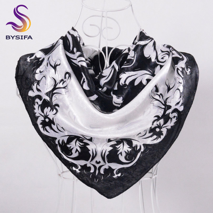 [BYSIFA] Black White Floral Large Square   Scarves     Wraps   New Design Female Elegant Satin   Scarves     Wraps   Head   Scarf   Hijab 90*90cm