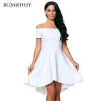 BLINGSTORY Europe And America Fashion Elegant Sexy Slash Neck Short Sleeve Asymmetrical Dress SDD61346