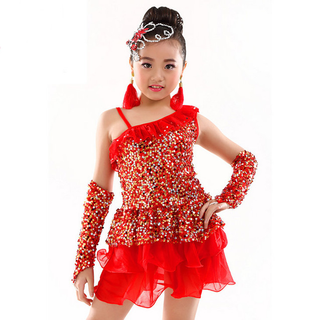 11cf743f3c6d New Girls Sequined Latin Dancewear Kids Dancing Dress Costume Red Rose Blue- in Latin from Novelty & Special Use on Aliexpress.com | Alibaba Group