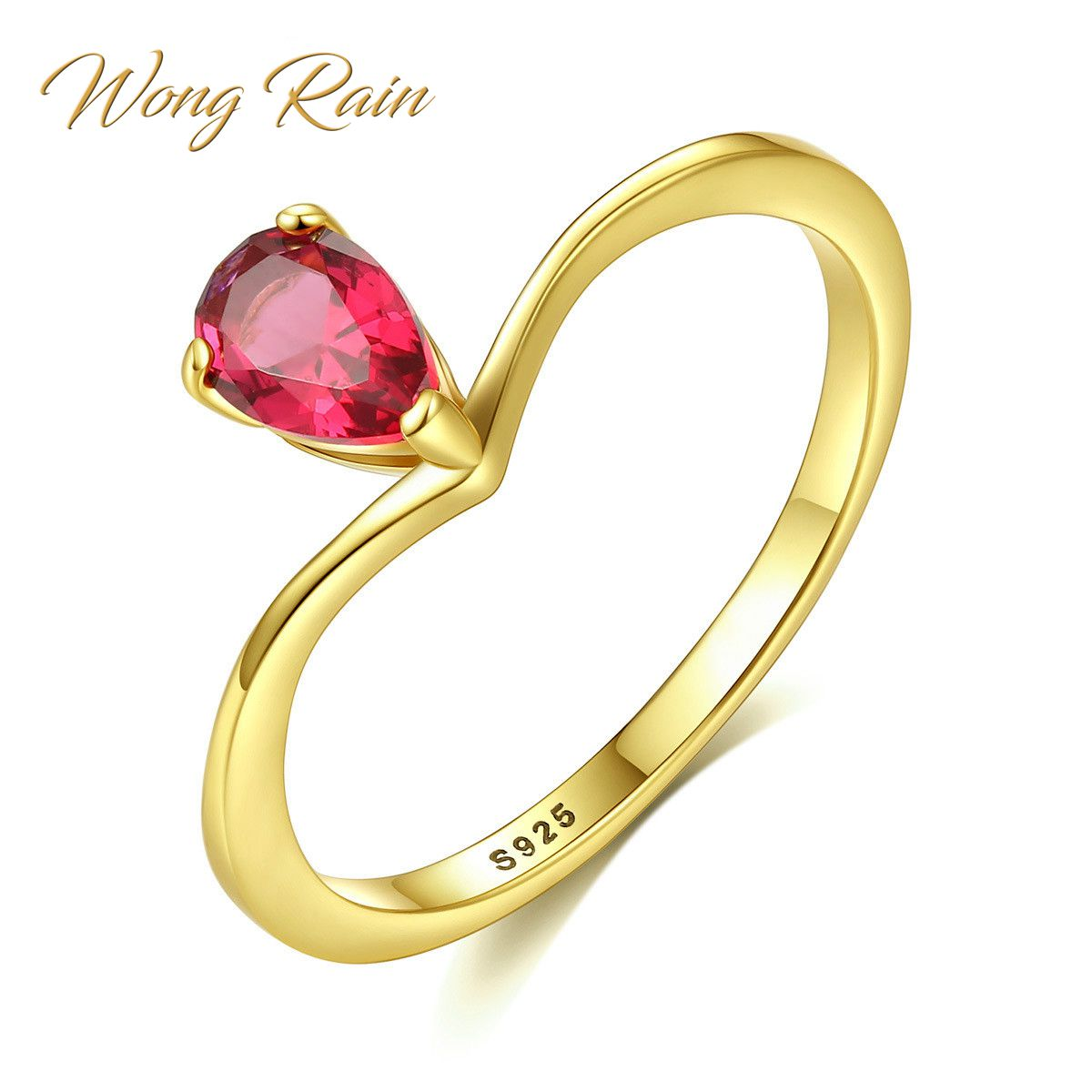 Wong Rain 100% 925 Sterling Silver Pear Ruby Pink Sapphire Gemstone Wedding Engagement Yellow Gold Ring Fine Jewelry Wholesale