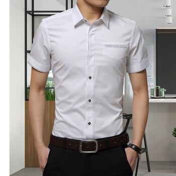 093701b93a0d 2017 Summer New Men s Shirt Brand Luxury Men Cotton Short Sleeves Dress  Shirt Turn-down Collar Cardigan Shirt Men Clothes