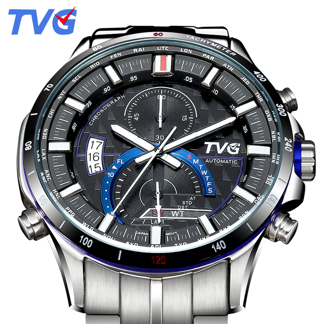 A500G Mens Watches Top Brand Luxury TVG Brand Men Business Casual Watch Stainless Steel Strap Quartz Watch Fashion Sports watche