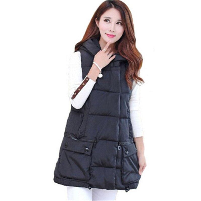 2016 Lange Weste Frauen Mit Kapuze Weste Große Taschen Baumwolle Feminino Veste Femme Herbst Winter Oberbekleidung Zy881