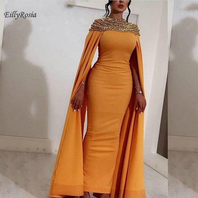 moitié prix super qualité vente énorme Robe de soirée arabe jaune 2019 avec Cape cristaux brillant décolleté Satin  gaine cheville longueur dames robe cérémonie femme