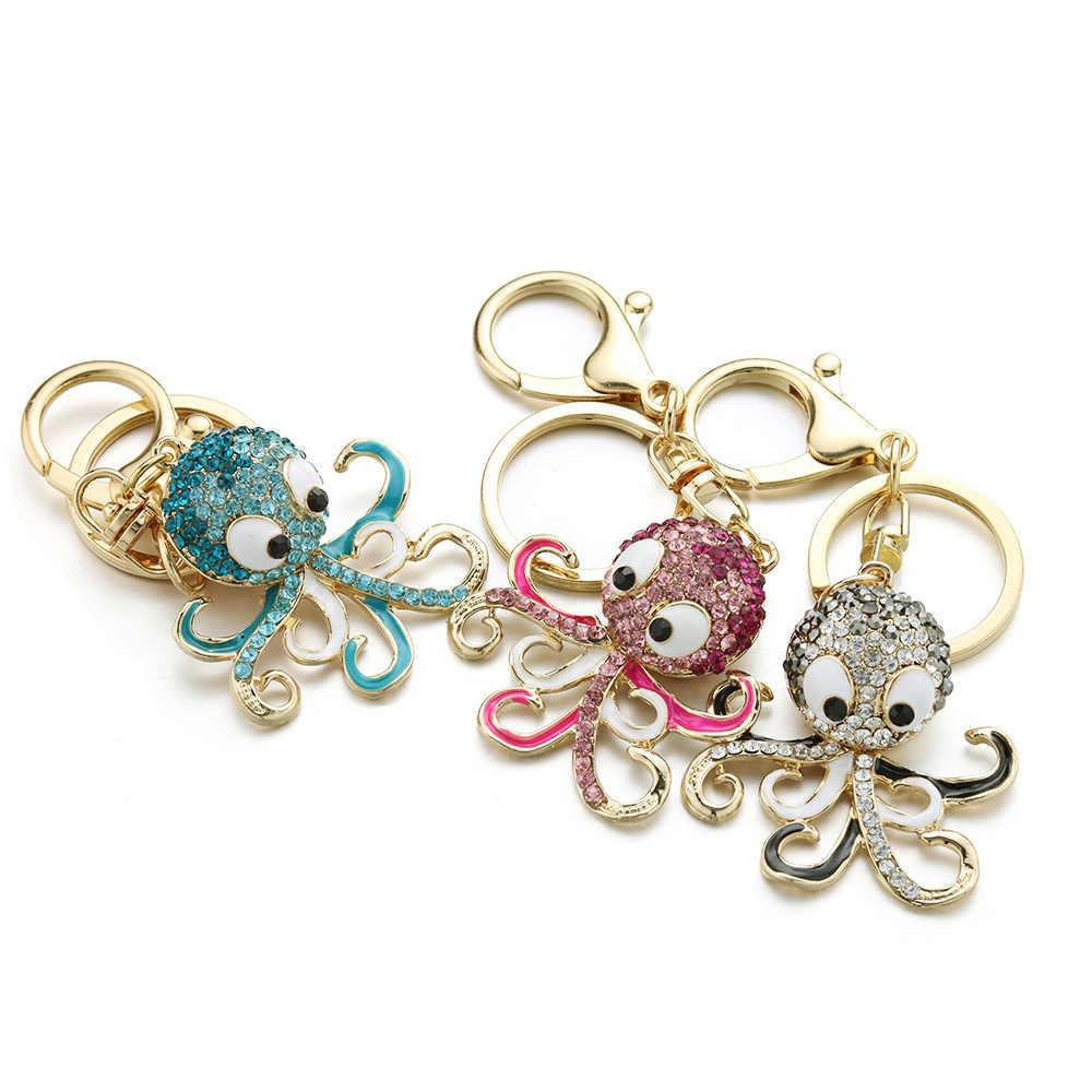 Dalaful Polvo Bonito Keychain Chaveiro de Cristal Oceano Animal Bolsa Bolsa Sacos Mulheres K377 Pingente Chaveiro Anel Titular Para O Carro