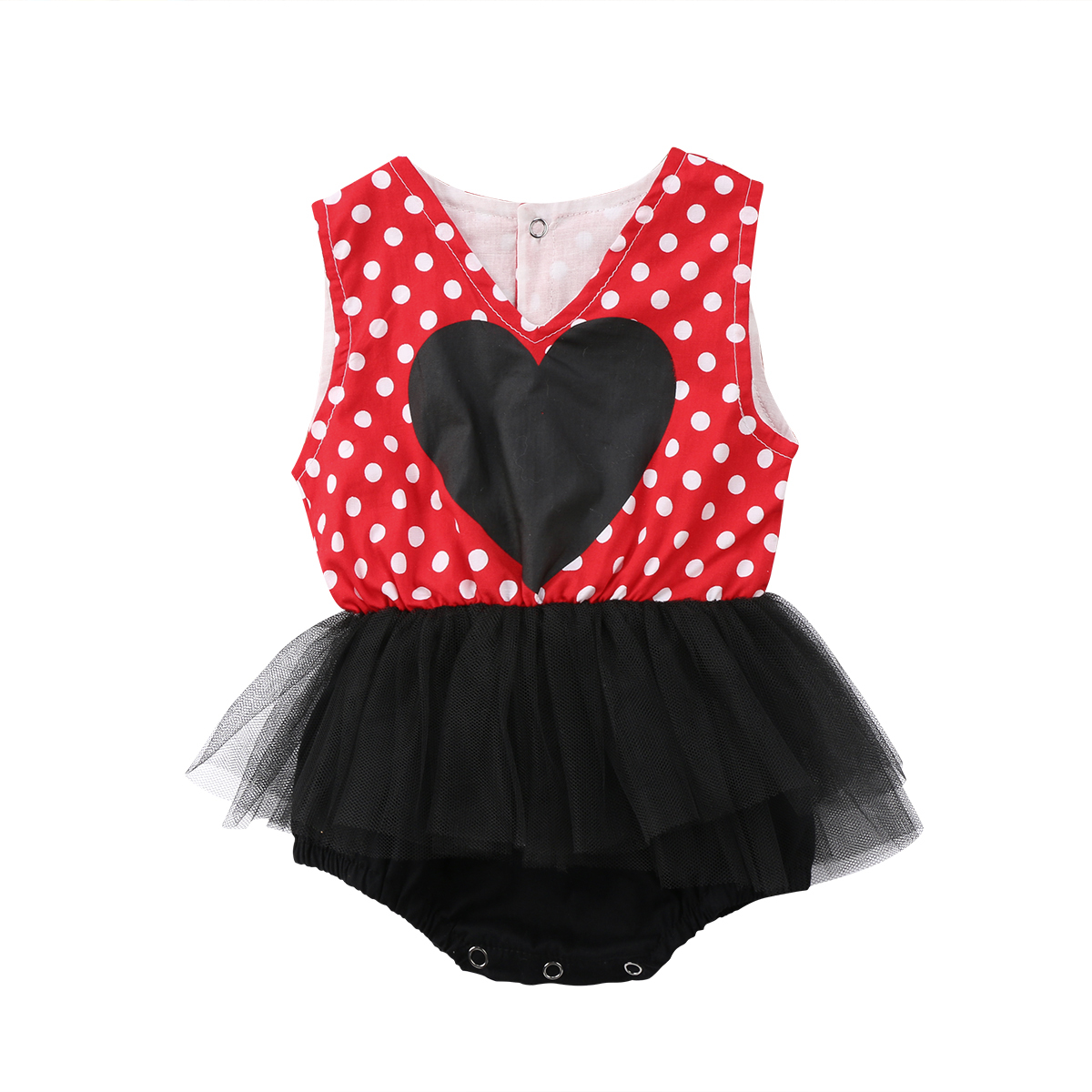 2074234beada 2018 Newborn Baby Girls Polka Dot Sleeveless Heart Jumpsuit Toddler Bodysuit  Infant Lace Tutu Skirt Outfit Cute Clothes-in Bodysuits from Mother   Kids  on ...