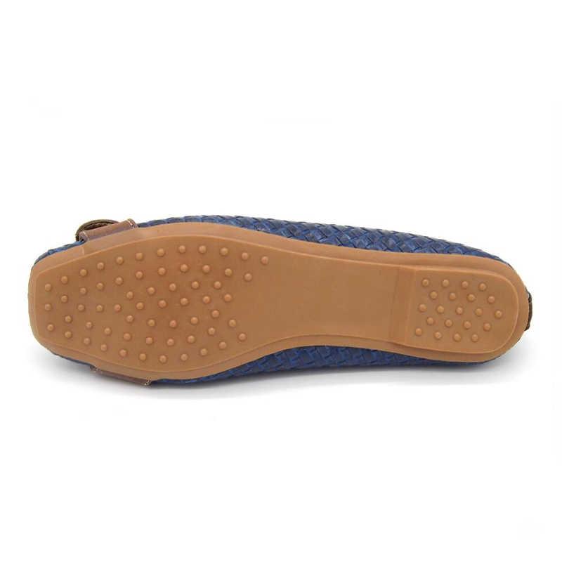 CEYANEAO 2019 ilkbahar ve sonbahar kadın loafer'lar Flats toka örme kadınlar düz topuk ayakkabı tekne ayakkabı yumuşak alt rahat ayakkabı