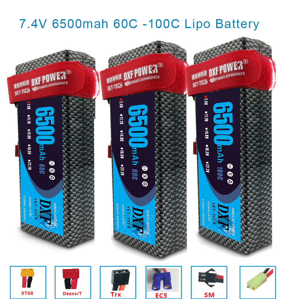 DXF 2S 7.4V 4200mAh 5200mAh 6500mAh 50C 60C 80C 100C XT60 Plug Lipo Battery RC Parts Hard Case For TRX4 Buggy Cars Airplane Boat
