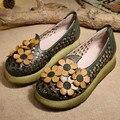 Дизайнер Весна Женщин Зеленый Насосы Продажа Натуральной Кожи Девушки 6 СМ Туфли На Каблуках Удобные Ручной Работы Женская Обувь Летние Цветочные Клин