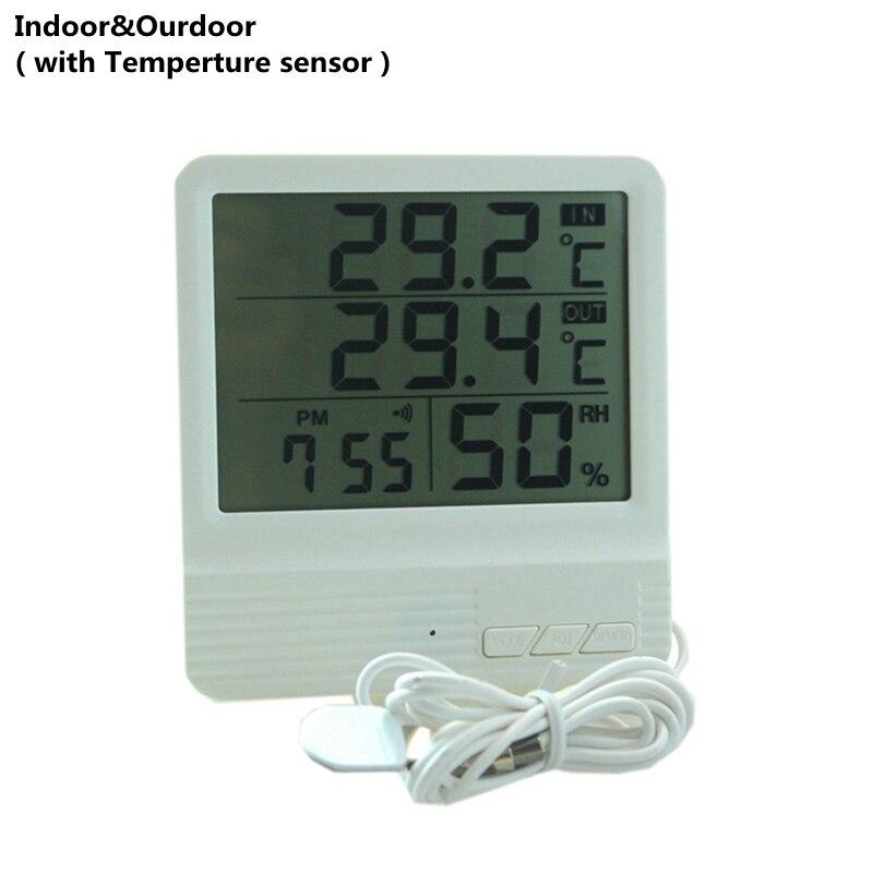 New Indoor/ Outdoor Temperature Meter Indoor Hygrometer Humidity Meter Gauge Alarm Clock Calendar with Temperature Sensor