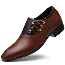 Men British PU Leather Spring Autumn Formal Wedding Shoes Luxury Business Dress Loafers Pointy Big Size