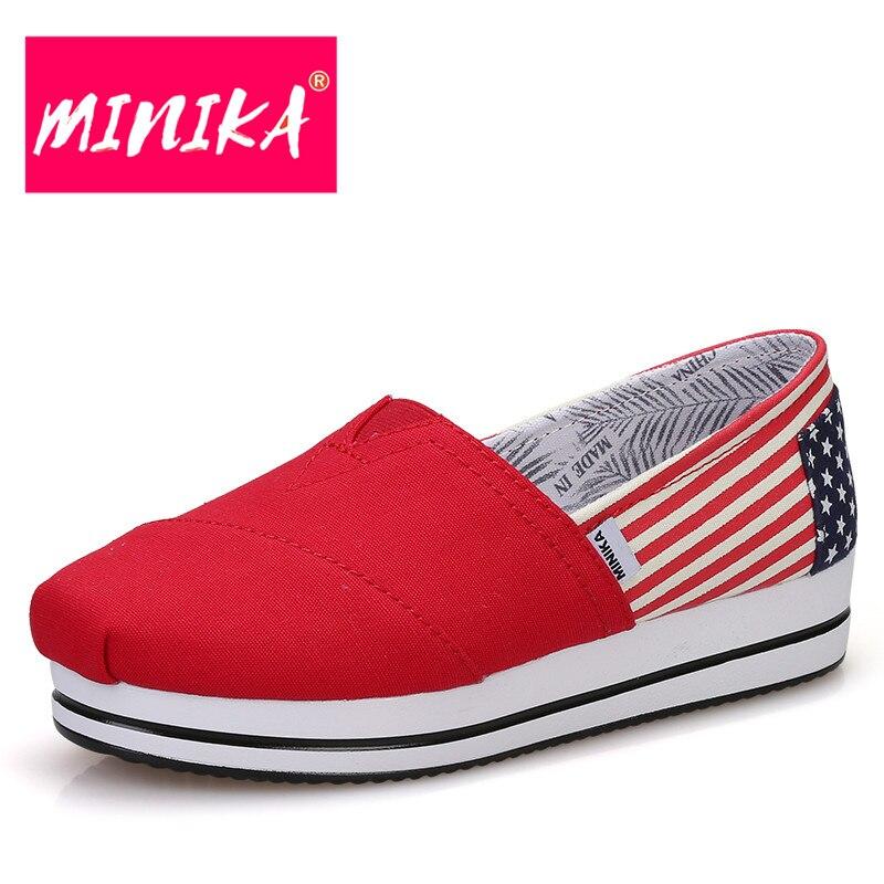 MINIKA New Arrival Flat Platform Shoes Women American Flag Pattern Women Shoes Comfortable & Soft Women Casual Shoes