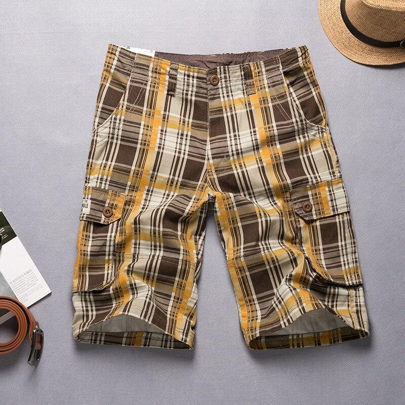 Male Shorts Cargo Beach Summer High Casual Cotton Plaid Size-36 Men 38