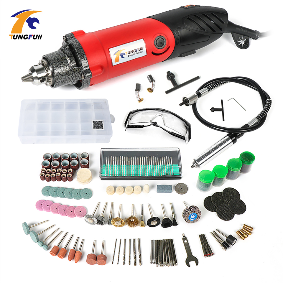 Tungfull 500W Power Tools Electric Mini Drill Polished Engraved With Dremel Accessories Electric Rotary Tool Grinding Machine bdcat 180w electric dremel mini drill polishing machine rotary tool with 140pcs power tools accessories and dremel holder