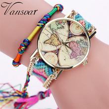 Vansvar Brand Handmade Braided World Map Friendship Bracelet Watch Rope Ladies Quarzt Watches Relogio Feminino 2040