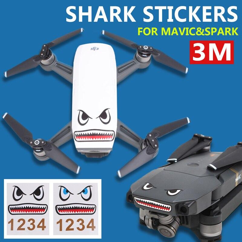 DJI Spark DJI Mavic Pro Shark Sticker Drone Body Paster Adhesive Skin Sticker Face Decals Aircraft Frame Spare Parts drone helipad