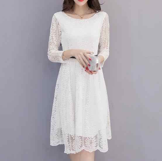 13500e25cb Clobee Lace Elegant A Line Women Dress Sashes Full Sleeve Long Ladies  Dresses 2019 Korean Style Work Office Femme Vestidos Z634