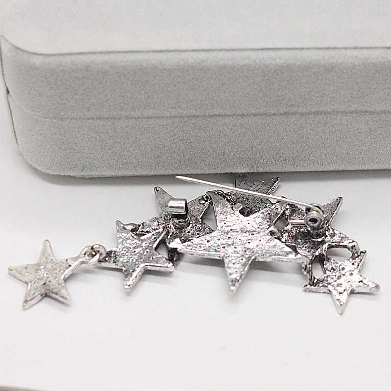 Ajojewel Silver Color Stars Shaped Vintage Brooches Pins For Women Full Of  Rhinestone Trendy Jewelry Party Gift For Friends