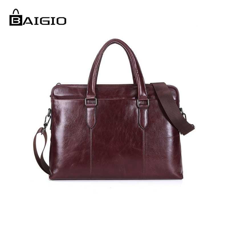 Baigio Men Genuine Leather Briefcases Bag 15 inch Laptop Cases Best Designer Men Messenger Shoulder Bags Traveling Handbag