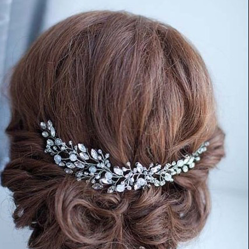 fashion women silver wedding pearls hairpins crystal vine bridal head wear hair accessories diamond headpiece Fashion Crystal Bridal Hair Flower Rhinestone Hair Jewelry Headdress Women Prom Headwear Women Girls Wedding Hair Accessories