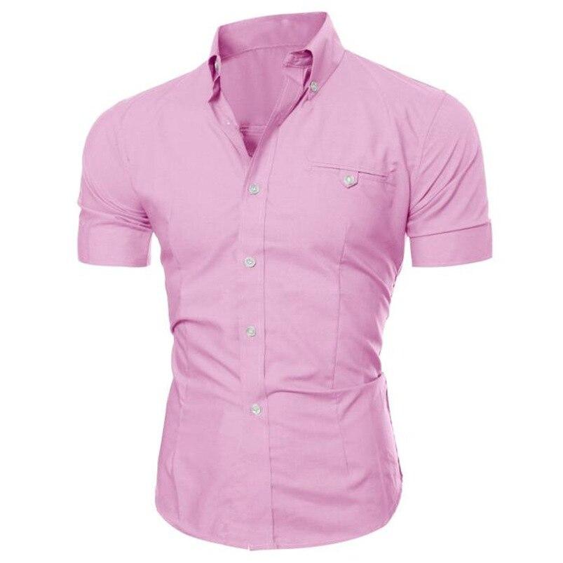2018 shirt Men Summer Business Stylish Slim Short Sleeve Basic T Shirt Blouse Top Size M-5XL camisa masculina #M21 (14)