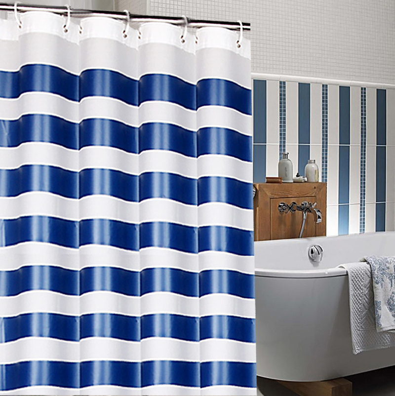 Best Price Blue and White Stripe Modern Navy Waterproof Large Shower ...