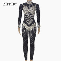 Shining Crystals Black Jumpsuit Women's Evening Wear Celebrate Bodysuit Bright Rhinestones Costume Female Singer Birthday Outfit