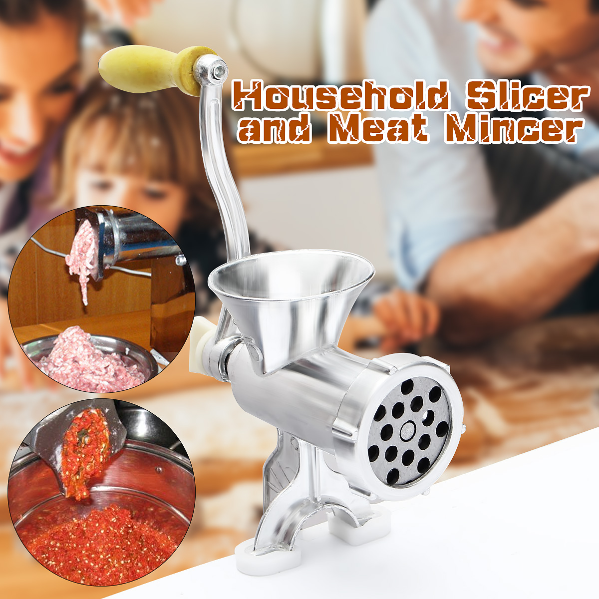 Handheld Meat Grinder Mincer Meat Sausage Noodle Dishes Making Gadgets Home Canteen Kitchen Cooking Tools Silver the taste of home cooking cold dishes stir fried dishes and soup chinese home recipes book chinese edition step by step