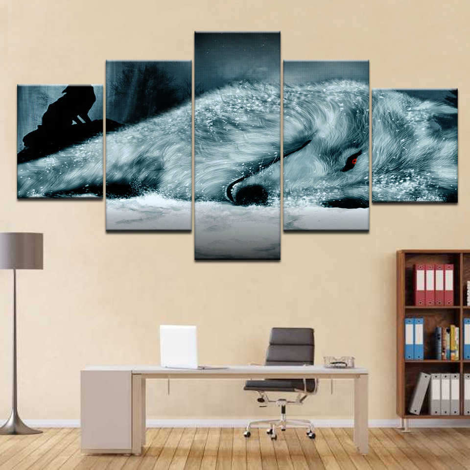 HD Printed Modern Home Decor Canvas Living Room 5 Panel Red Eyes White Wolf Painting Wall Art Modular Poster Framework Pictures