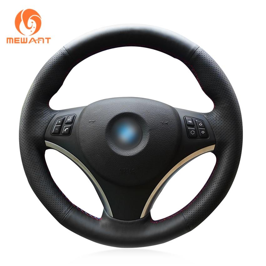 цена на MEWANT Black Genuine Leather Car Steering Wheel Cover for BMW E90 320i 325i 330i 335i E87 120i 130i 120d