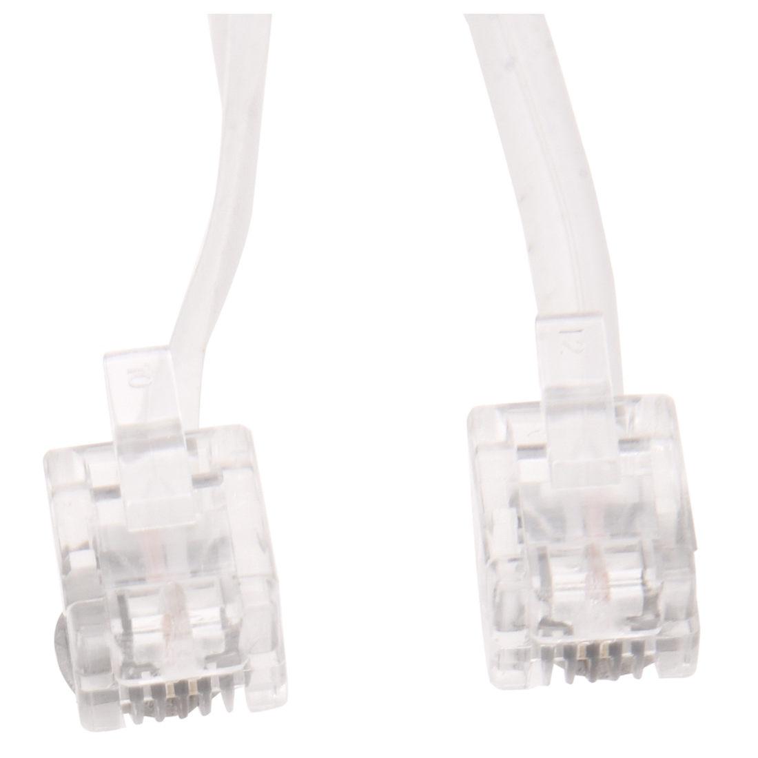 Белый мужской 6P2C RJ11 телефонная розетка факс модем линия кабель, 14 м для стационарного телефона