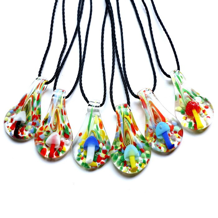 Lampwork murano glass pendants with necklaces cheap fashion jewelry lampwork murano glass pendants with necklaces cheap fashion jewelry murano glass jewelry mushroom inside luminous leaf handmade in pendant necklaces from aloadofball Images