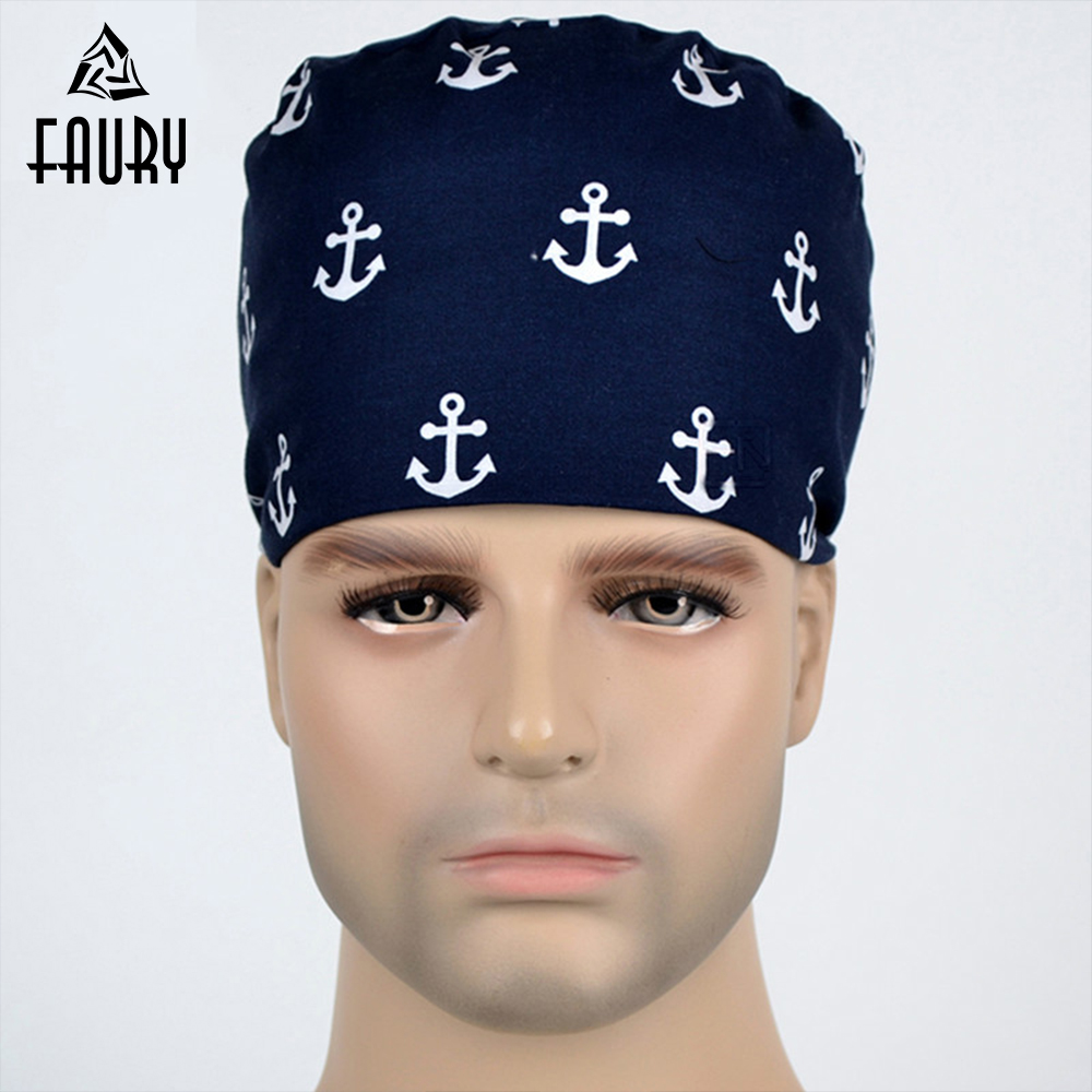 Navy Style Anchor Printed Medical Surgical Scrub Caps Surgery Cap Dentist Clinic Hat Pet Hispital Doctor Beauty Salon Hats Masks