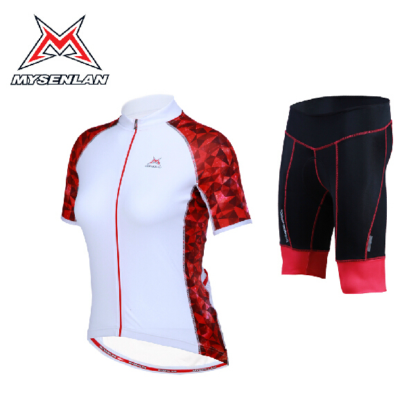 236dc3e29 100% Brand MYSENLAN Women white red Cycling Jersey Short Sleeve Cycling  Shorts Kits bike Jersey
