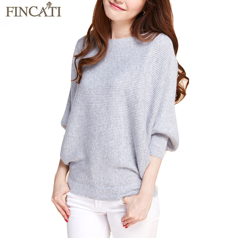 Pull Femme 2017 Spring Autumn High Quality Pure Mink Cashmere Slash Neck Batwing Sleeve Fashion Loose