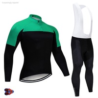 2019 Pro Men UCI Teams Green Cycling Jersey Sets Custom 9D GEl Breathable Polyester Long Sleeve Bicycle Bike Sports Clothing