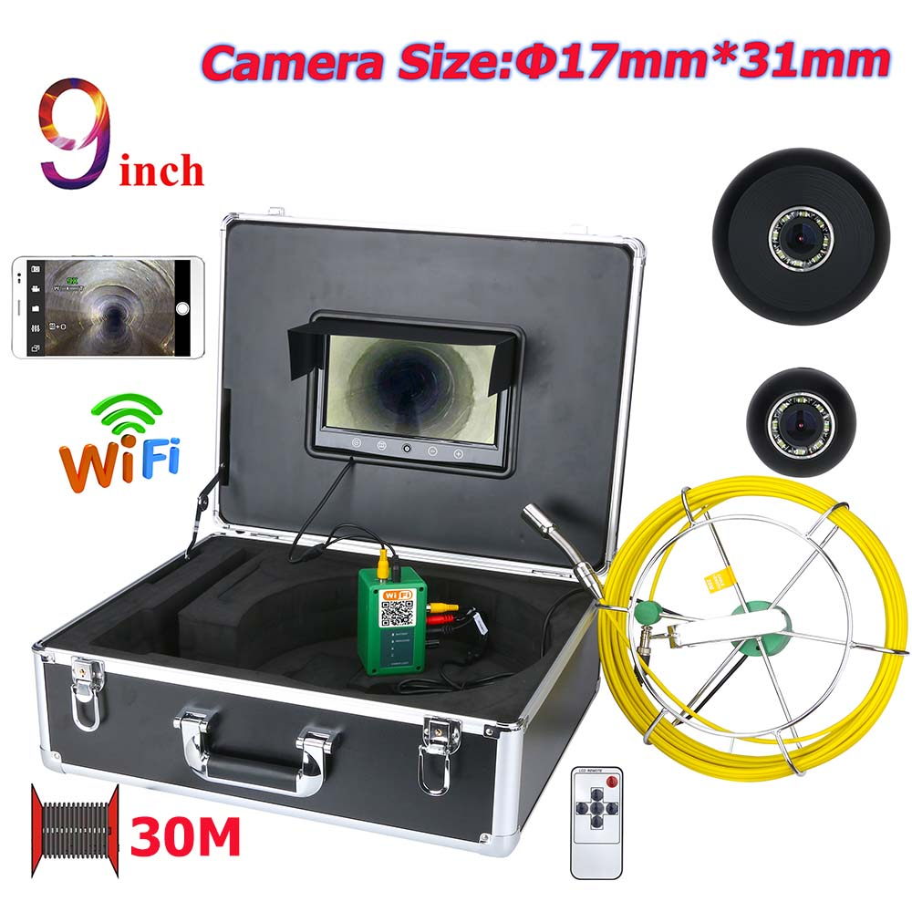 9inch Wifi Wireless 17mm Industrial Pipe Sewer Inspection Video Camera System Ip68 1000 Tvl Camera With 8pcs Lights In Short Supply Security & Protection Video Surveillance