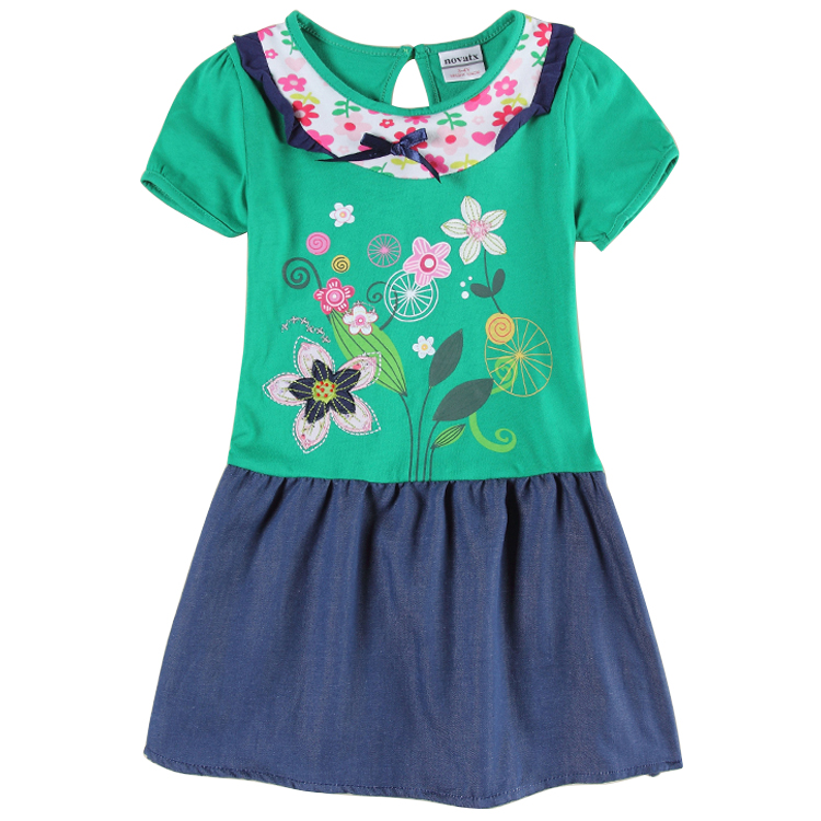 retail baby girl clothing summer 2016 girl cowboy floral embroidery chinese stylle girl dress nova kids children clothes