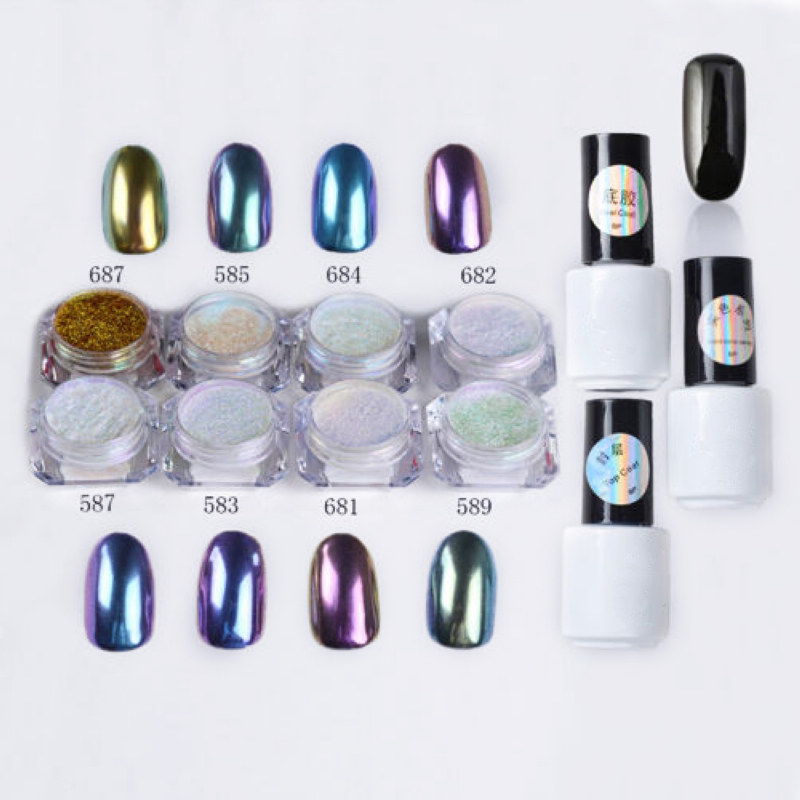 Black 12pcs/set Nail Art Chameleon Mirror Glitter Powder Chrome Pigment UV Gel For Nail Art Decoration