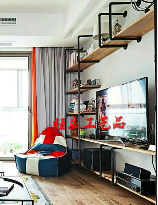 Marvelous Retro Do The Old Industrial Pipe Racks Shelf Bookcase Creative Wood  Backdrop Living Room TV Cabinet Decorative Frame In Swivel Plates From Home  Improvement ...