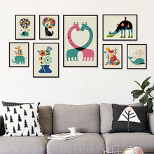Elegant Poetry Simple Lovely Cartoon Animal Illustration Canvas Painting Art Print Poster Picture Wall Baby Child Bedroom Decor