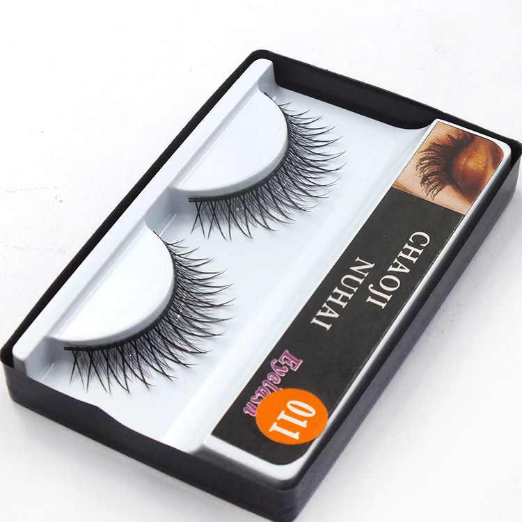 1 çift Satış Çapraz Siyah Sapı Kirpik Kore NaturalNaked Makyaj Uzun Yanlış Kirpik El Yapımı Göz Lashes Makyaj Seti Hediye #011
