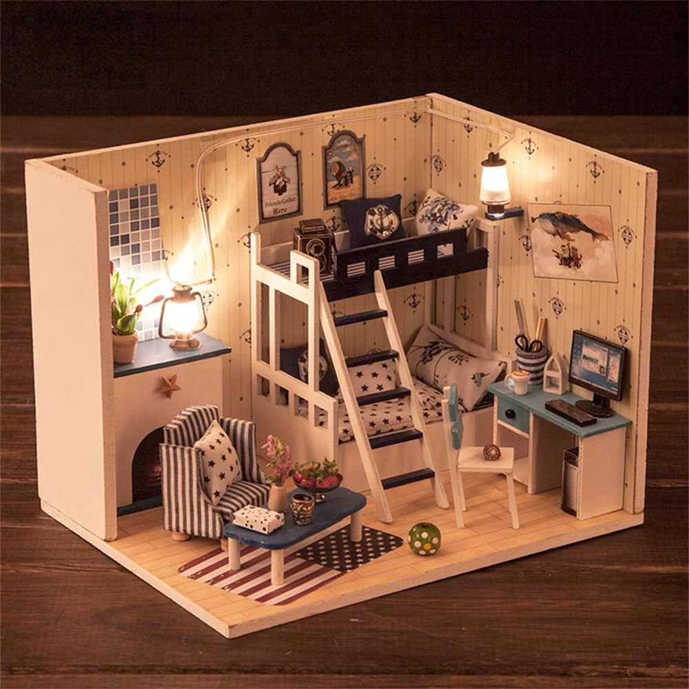 Imported From Abroad Christmas Gift 2018 New Cute Cartoon Diy Dollhouse Miniature 3d House Furniture Led House Puzzle Decorate Creative