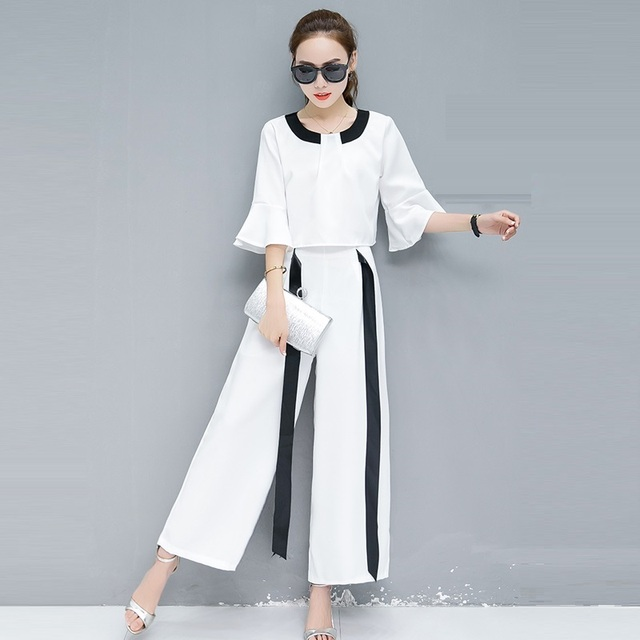 fa4a68df0143 2018 Summer Fashion Casual White Pant Suits 2 Piece Set Women Flare Sleeve  Crop Top And Black White stripes Wide leg pants