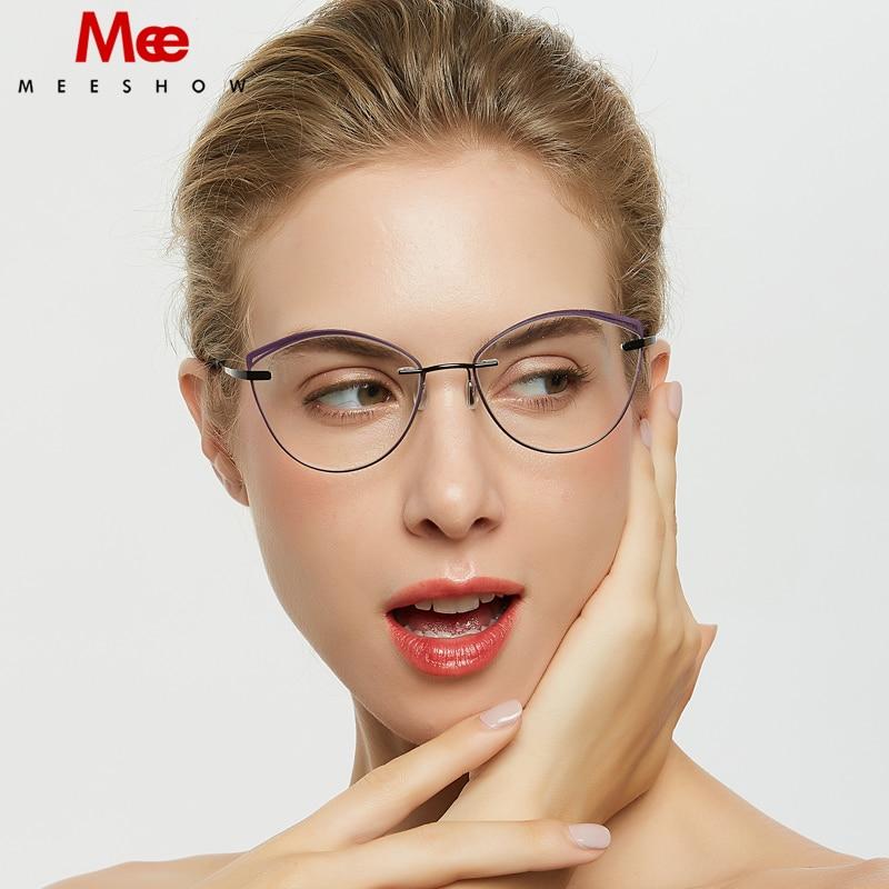 Titanium alloy cat eye glasses frame men women rimless eyeglasses Brand optical eyewear TR90 accent rings prescription glasses
