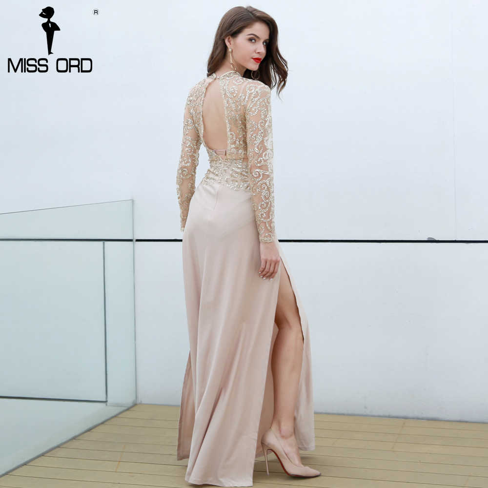 0bb45f45037 Free Shipping Missord Fashion 2019 Flash sexy high-necked long-sleeved  sequin split dress FT5171